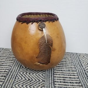Other - Boho gourd basket / container with feather detail